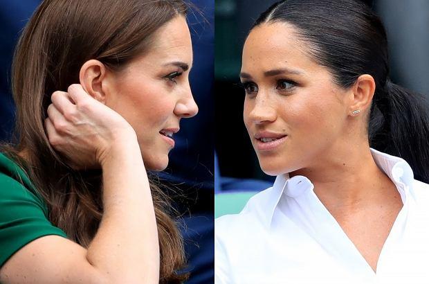 Księżna Meghan w towarzystwie księżnej Kate pojawiły się w sobotę na Wimbledonie, by kibicować przyjaciółce Markle, Serenie Williams.