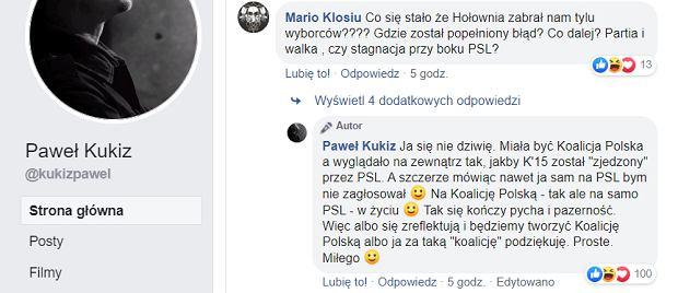 Komentarz Pawła Kukiza na Twitterze