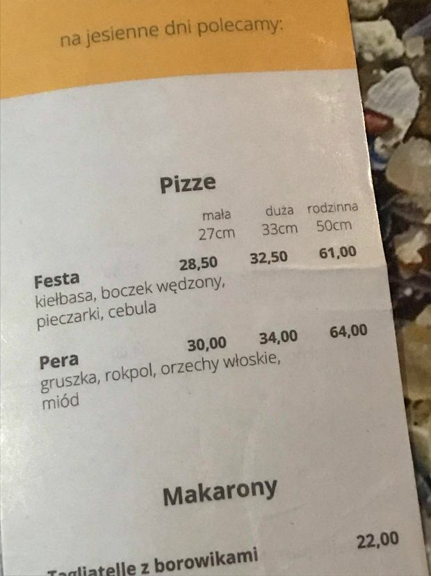 Menu pizzerii Parma