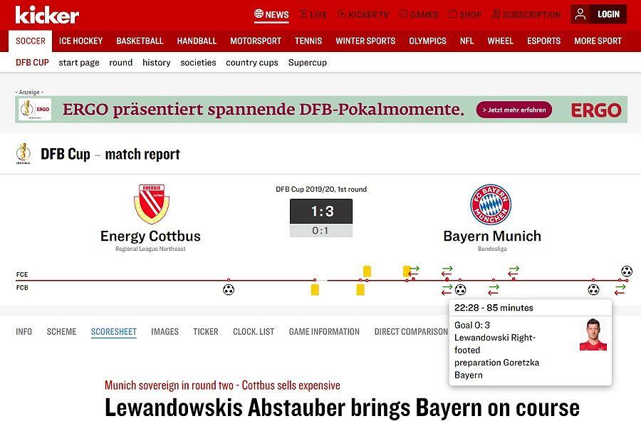 Robert Lewandowski strzelił dwa gole w meczu z Energie Cottbus