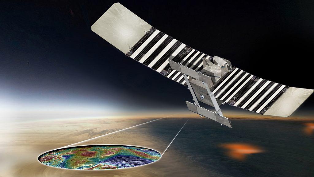 Sonda VERITAS mapująca powierzchnię Wenus - wizja artysty
