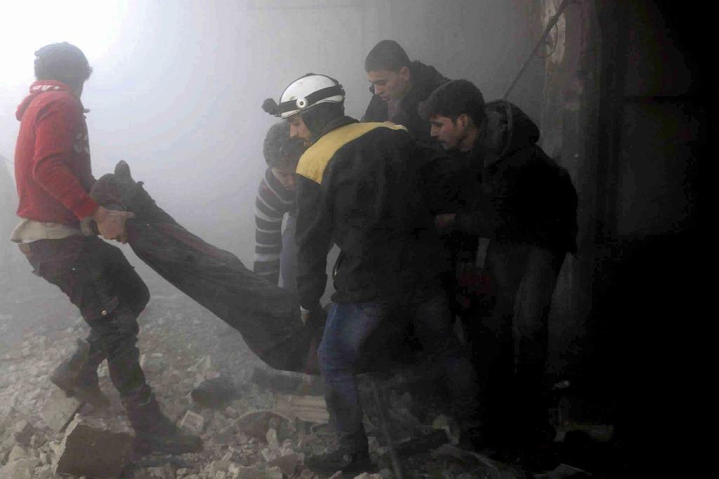 Efekty bombardowań we Wschodniej Ghoucie