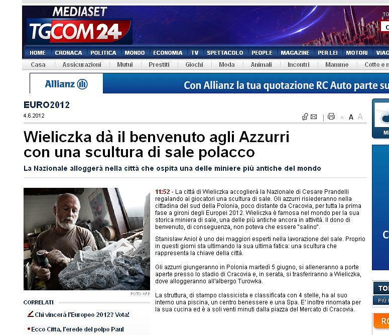 Włoska strona internetowa pisze o solnej rzeźbie