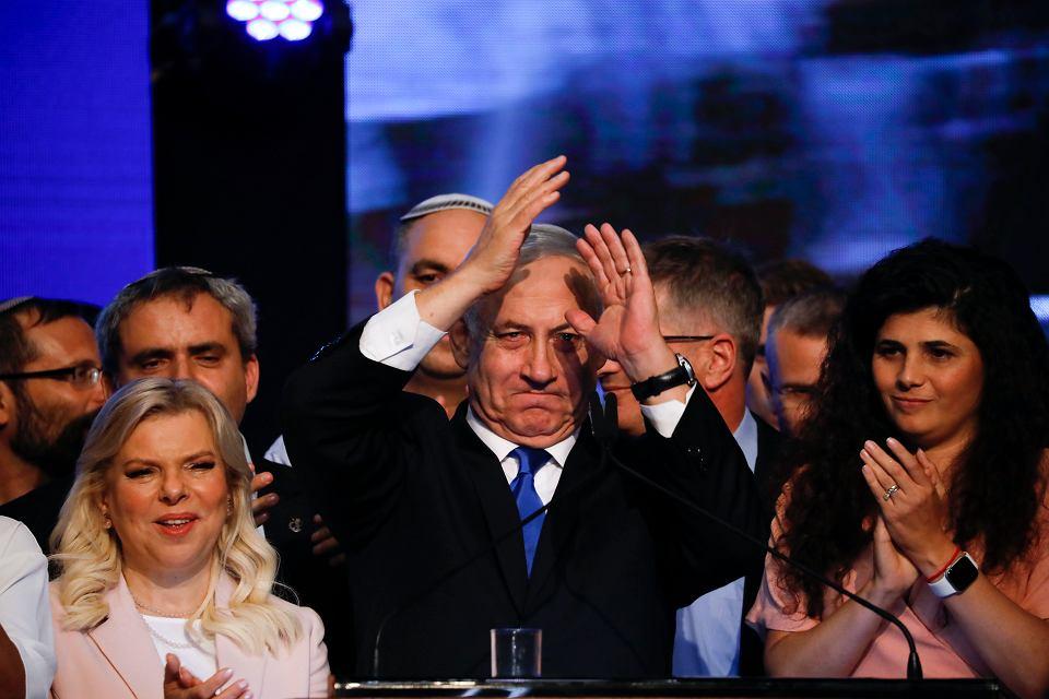 18.09.2019, Tel Awiw, urzędujący premier Izraela Benjamin Netanjahu po ogłoszeniu wyniku wyborów.