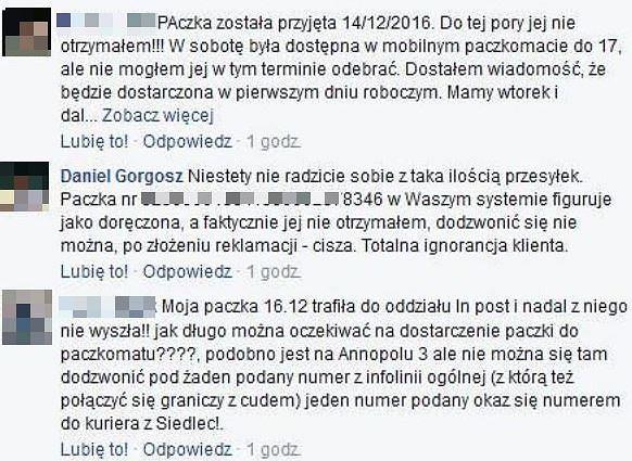 Klienci InPostu o problemach z przesyłkami - screen z profilu firmy na Facebooku