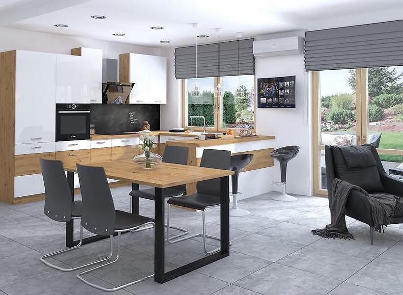 Stół kuchenny z drewnianym blatem i metalową podstawą.