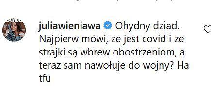 Julia Wieniawa komentuje wystąpienie Jarosława Kaczyńskiego