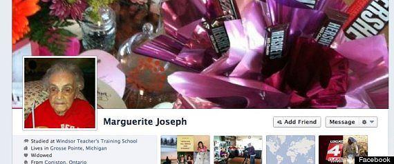 Profil Marguerite Joseph. Ma prawie 105 ale dla Facebooka nie przekroczyła jeszcze 100.
