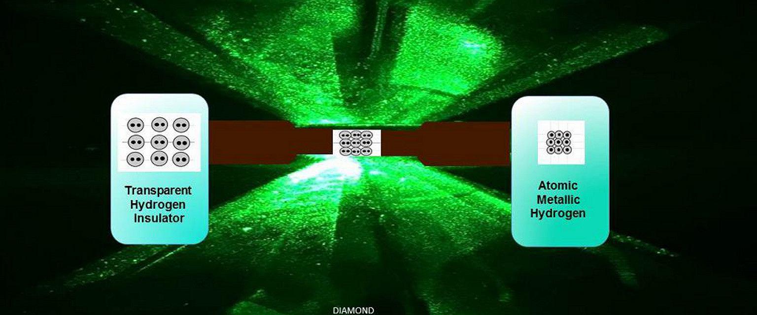 Próbka wodoru w diamentowych kowadełkach  (fot. R. Dias, I.F. Silvera)