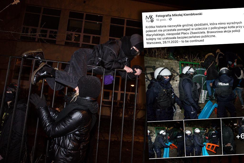 Protest w Warszawie. Policja zdemontowała zjeżdżalnię, przy pomocy której demonstranci uciekali z kotła