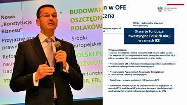 Minister Morawiecki i slajd 27 o zmianach w OFE