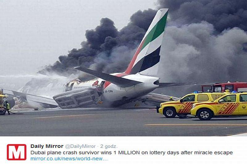 Hindus najpierw przeżył katastrofę samolotu, teraz wygrał milion dolarów, fot. Twitter/Daily Mirror