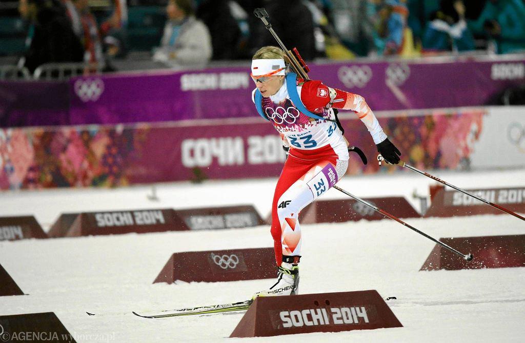 Krystyna Pałka podczas biegu pościgowego na Igrzyskach Olimpijskich Sochi 2014