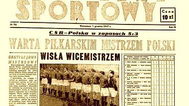 Pierwsza strona ''Przeglądu Sportowego'' z tytułem Warta piłkarskim mistrzem Polski, nazajutrz po zwycięstwie poznaniaków 5:2 nad Wisłą Kraków