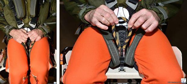 Zdjęcia poglądowe z raportu pokazujące umiejscowienie uchwytu uruchamiającego katapultę