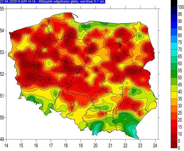 Wskaźnik wilgotności gleby w Polsce (27 kwietnia 2020).