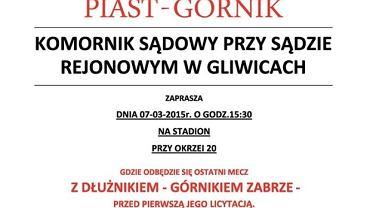 Plakat zapraszający na mecz Piasta z Górnikiem