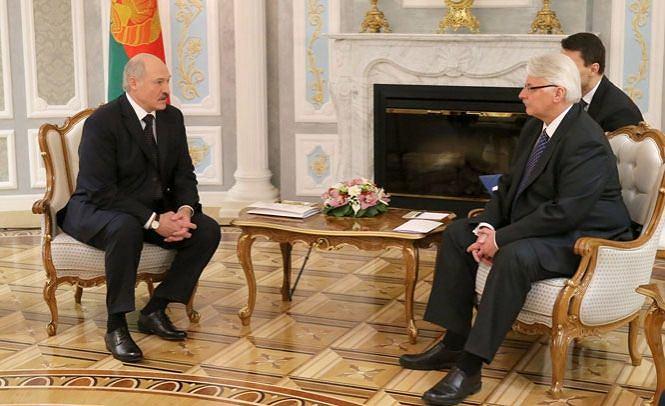 Aleksander Łukaszenka i Witold Waszczykowski podczas spotkania w Mińsku