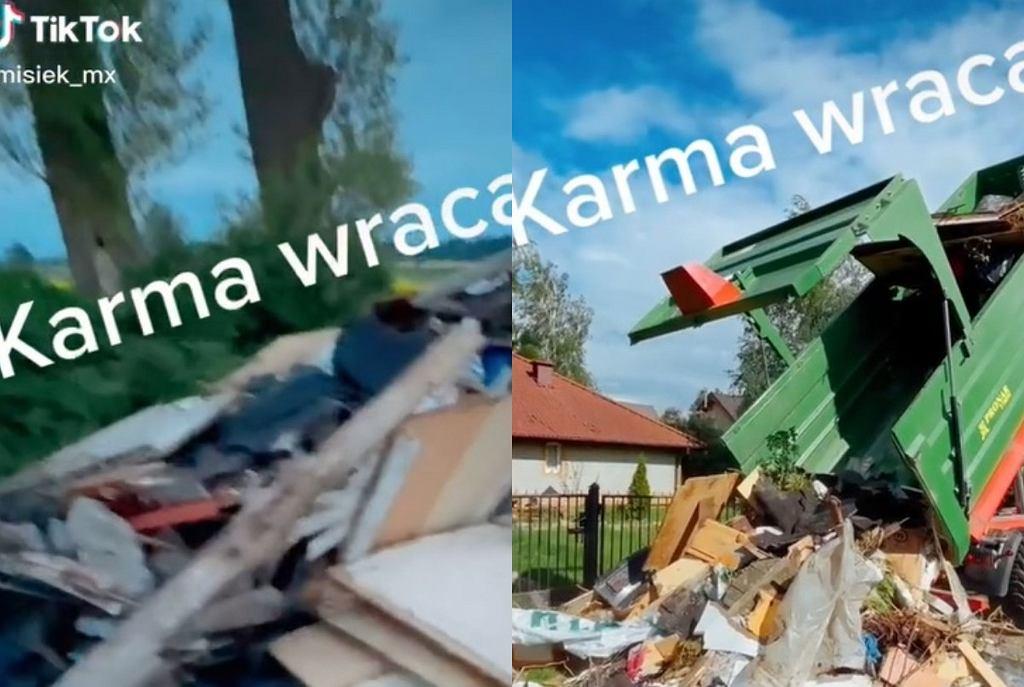 Tiktoker zaskoczył sąsiada. Wysypał porzucone przez niego śmieci pod jego domem