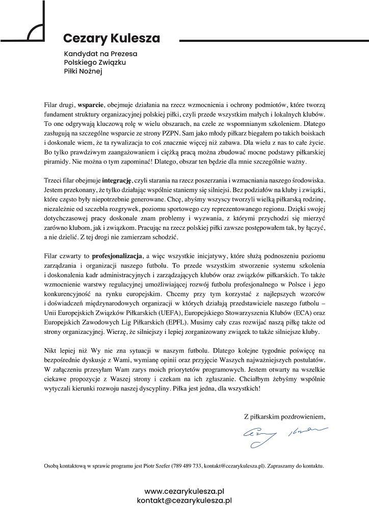List Cezarego Kuleszy do delegatów na wybory w Polskim Związku Piłki Nożnej