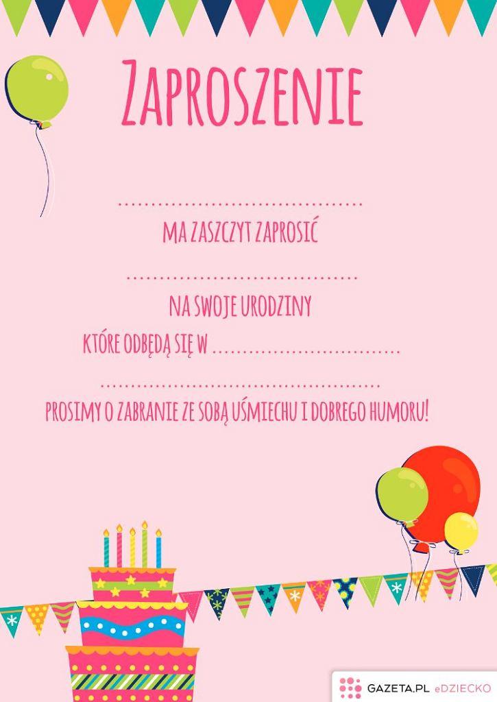 Zaproszenia Na Urodziny Dziecka Do Wydrukowania