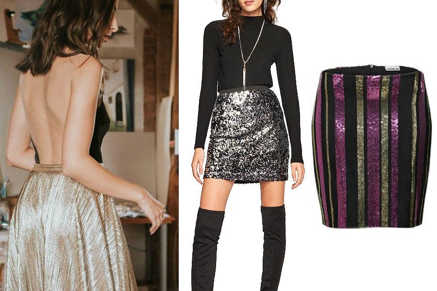 Spódnice na sylwestrowy bal powinny mienić się cekinami. Nie zapominaj również o srebrze i złocie!