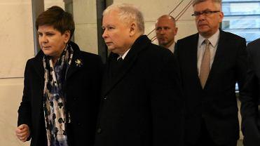 Beata Szydło, Jarosław Kaczyński, Marek Kuchciński, Stanisław Karczewski