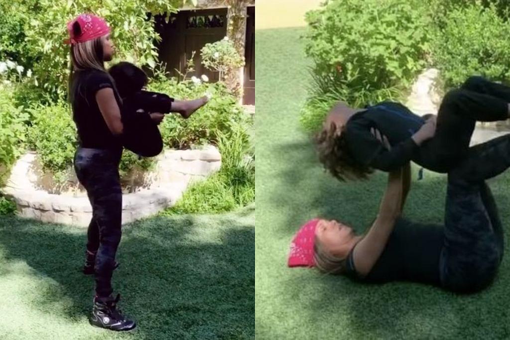 Halle Berry - domowy trening z synem