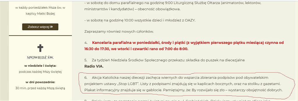 Ogłoszenie na stronie Sanktuarium w Czudcu zachęcające do podpisywania projektu ustawy 'Stop LGBT', w której znalazł się m.in zapis o zakazie parad równości.