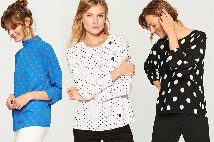 Nie ograniczaj się do bieli i czerni. Bluzki w groszki dobrze wyglądają również w innych połączeniach kolorystycznych
