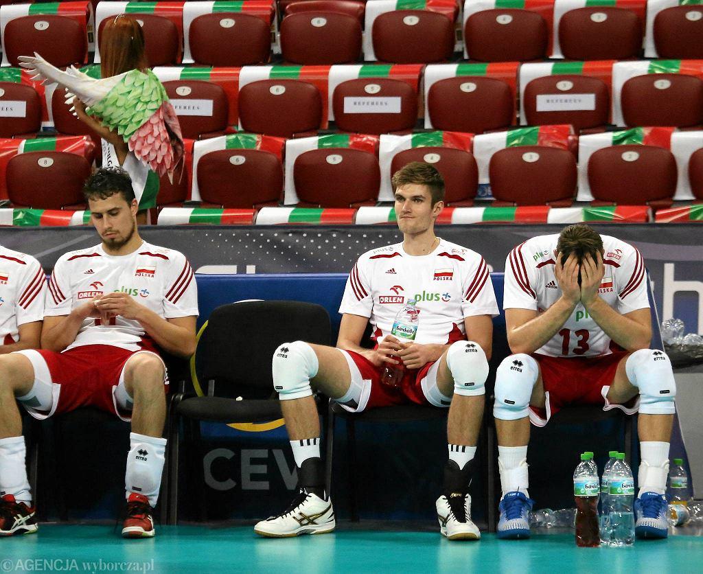 Fabian Drzyzga, Karol Kłos i Michał Kubiak po przegranym przez biało-czerwonych ćwierćfinale mistrzostw Europy w siatkówce