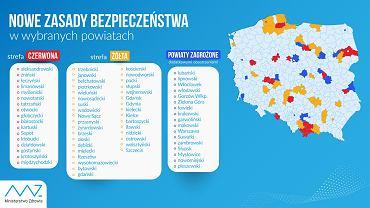 Aktualna lista powiatów objętych dodatkowymi obostrzeniami (żółtymi i czerwonymi). Zmiany będą obowiązywać od soboty (03.10)