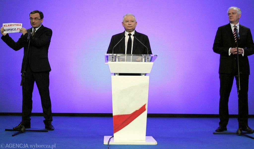 Prezes Jarosław Kaczyński na wspólnej konferencji z Ziobrą i gowinem