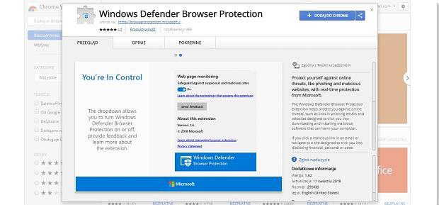 Windows Defender w wersji dla Chrome
