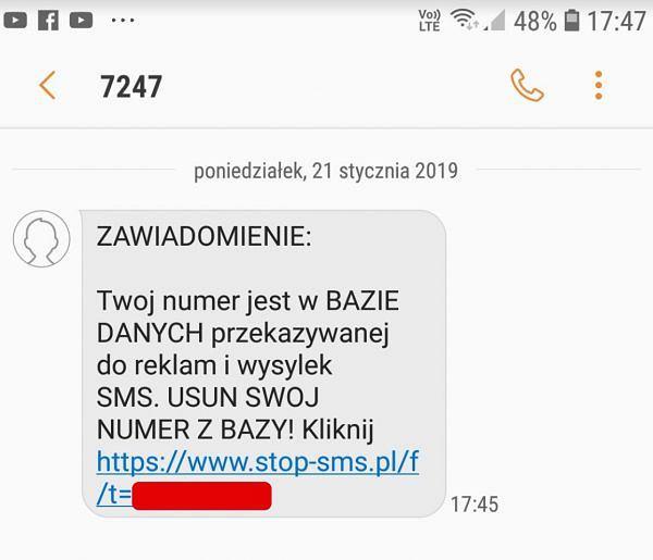 SMS-y zachęcające do usunięcia numeru telefonu z bazy reklamodawców