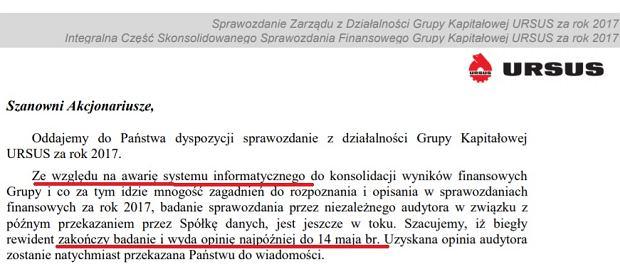 Fragment listu prezesa Ursusa do akcjonariuszy