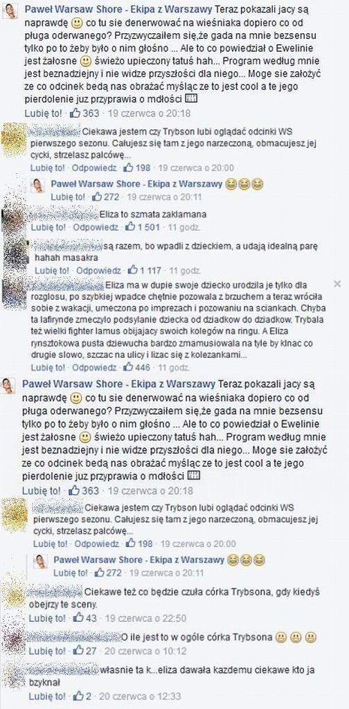 Komentarze na profilach Pawła i Eweliny
