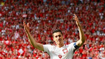 Robert Lewandowski podczas meczu ze Szwajcarią