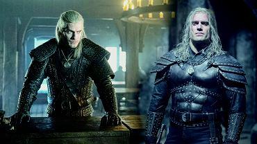 'Wiedźmin'. Henry Cavill jako Geralt z Rivii. Z lewej strony w kurtce z sezonu 1., z prawej w nowym kostiumie z sezonu 2.