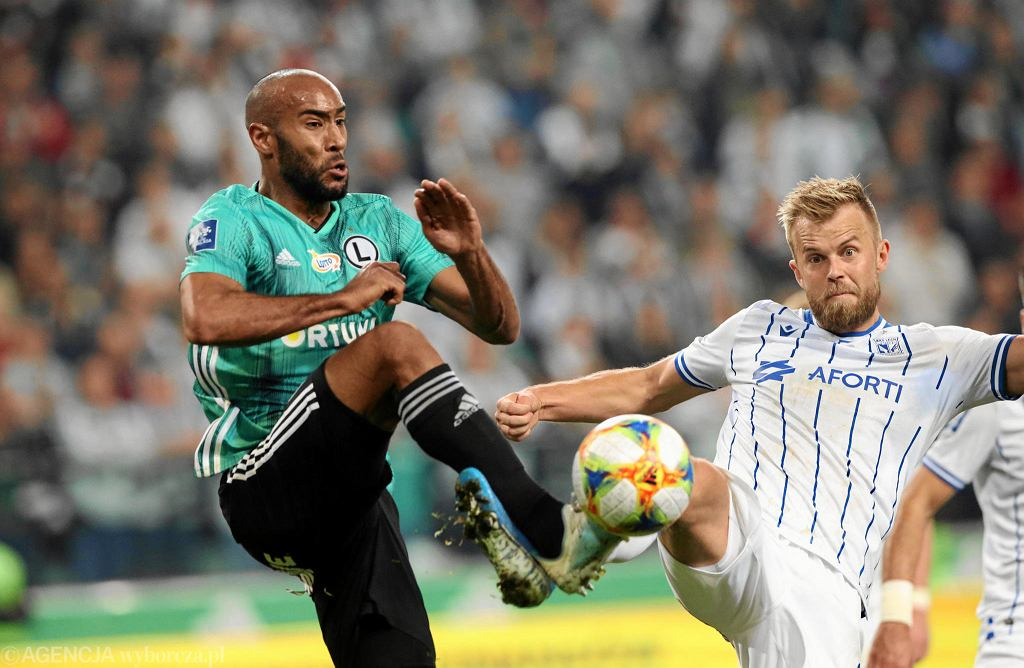 Ekstraklasa. Jose Kante i Christian Gytkjaer w meczu Legia Warszawa - Lech Poznań