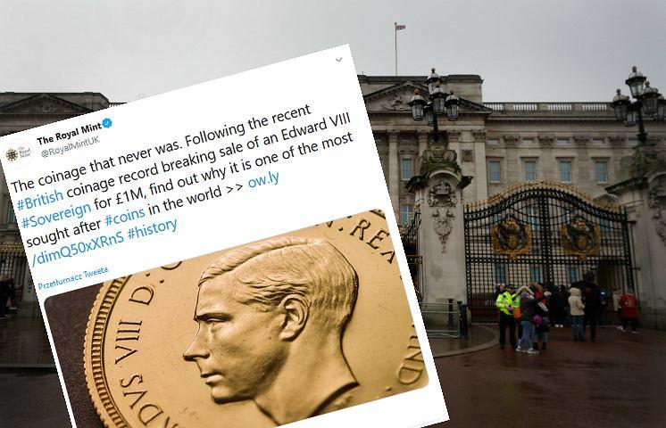Moneta z Edwardem VIII sprzedana za 1 mln funtów.
