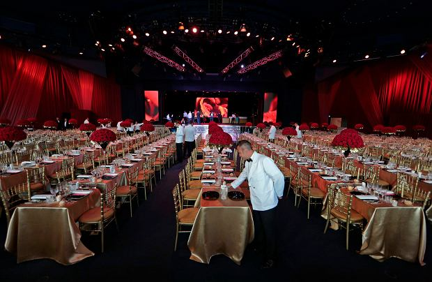 A general view of the decoration at the Monte Carlo Sporting Club where the Red Cross Gala takes place in Monte Carlo August 2, 2013. The Red Cross ball is a traditional and annual charity event in the Principality of Monaco. REUTERS/Eric Gaillard (MONACO - Tags: SOCIETY)