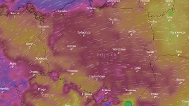 Silny wiatr na terenie całego kraju