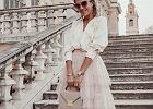 piękna spódnica na wesele w pudrowym kolorze