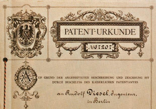 Fragment patentu Rudolfa Diesla