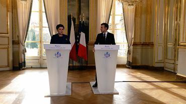 Beata Szydło i Emmanuel Macron