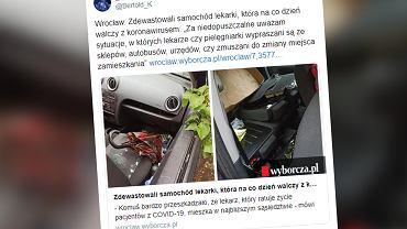Wrocław. Zdewastowano samochód lekarki ze szpitala jednoimiennego