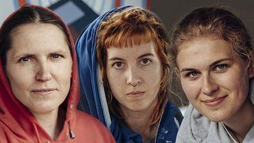 Dorota, Fio i Marta - współautorki muralu 'Kobiety Wolności'