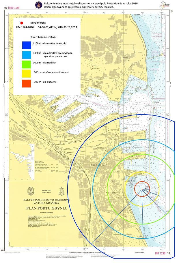 Strefy Bezpieczeństwa wydzielone w Gdyni 16 czerwca 2020 roku, na czas wydobycia miny morskiej.