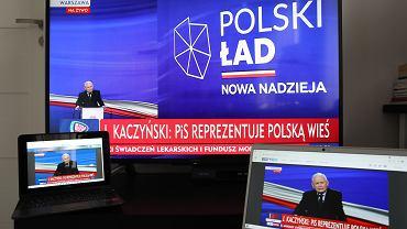 Jarosław Kaczyński mówi o programie (Nowy) Polski Ład. Konwencja partii rządzącej. Warszawa, 15 maja 2021